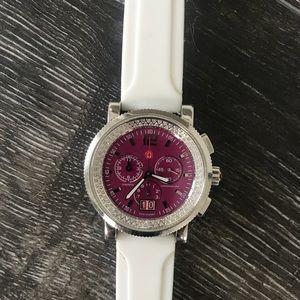 Michele Diamond Sapphire w/RARE pink face watch